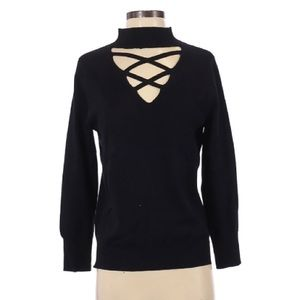LNA Black Merino Wool Open Neckline Sweater S